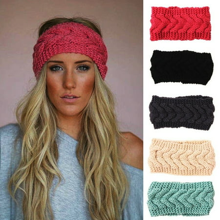 Womens Ear Warmer Twist Knit Soft Braided Crochet Headband Winter Knit Head - Lion Ears Headband