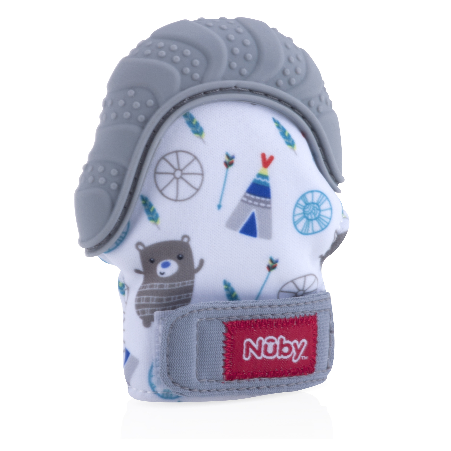 Nuby Teething Mitten with Hygienic Travel Bag, Gray Bear