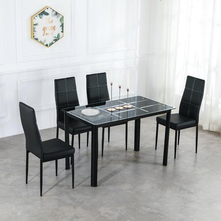 Ktaxon Dining Table Set Glass Table & 4 Chairs Metal Kitchen Room Furniture ()