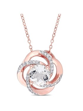 Miabella 2-3/5 Carat T.G.W. White Topaz Rose-Plated Sterling Silver Gemstone Pendant