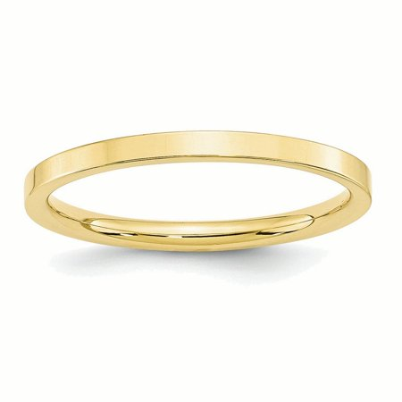 10k Yellow Gold 2mm Standard Flat Comfort Fit Band Ring ()