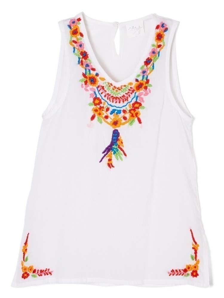 Azul Little Girls White Multi Color Floral Pocahontas Sleeveless Tunic