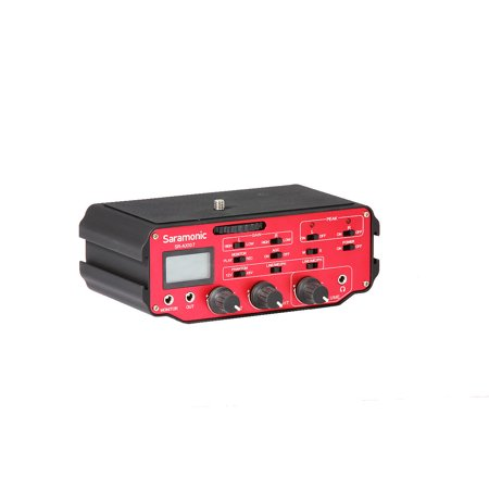 Saramonic SR-AX107 2 Channel Transformer XLR Audio Adapter with Phantom Power & Monitor (Red/Black) Phantom 2 Channel