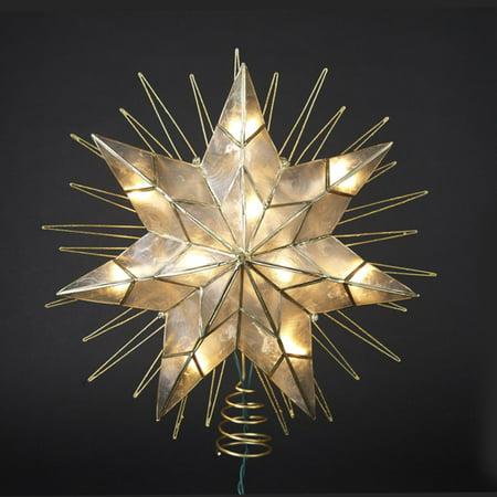 """14"""" Lighted Capiz Sunburst 7-Point Star Christmas Tree Topper - Clear Lights"""
