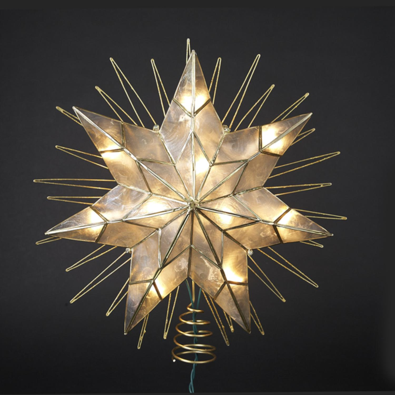 "14"" Lighted Capiz Sunburst 7-Point Star Christmas Tree Topper - Clear Lights"