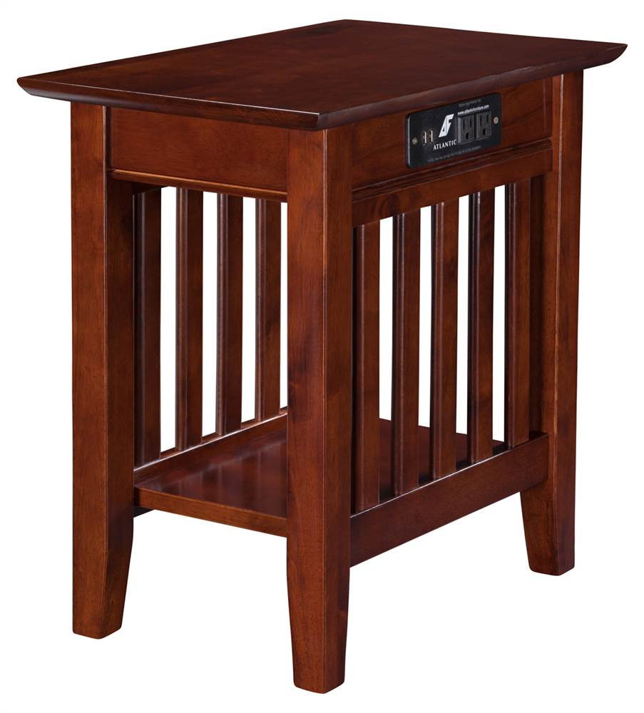 22 in. Mission End Table with Charger in Walnut