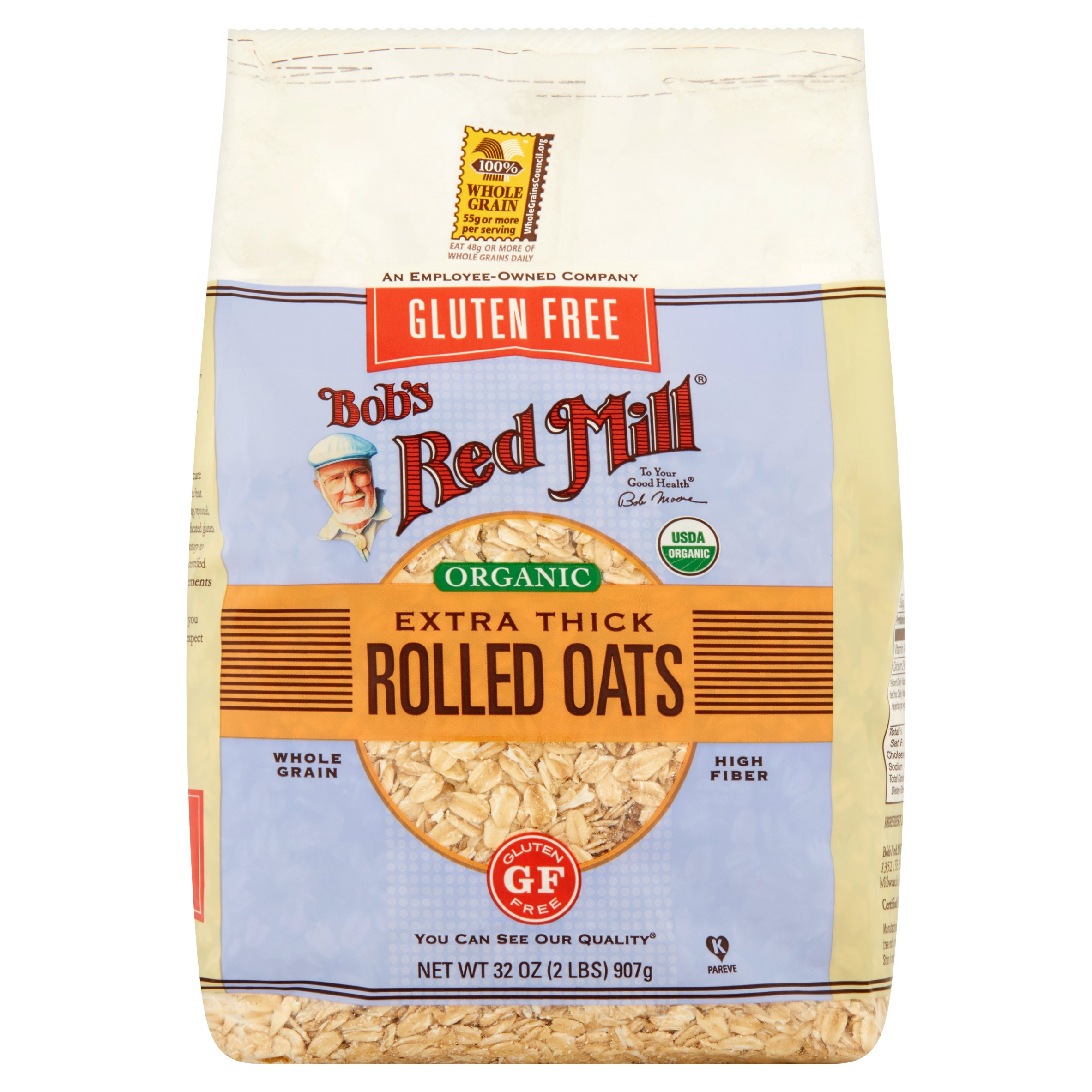 Bob's Red Mill Gluten Free Organic Extra Thick Rolled Oats, 32 oz, 4 pack