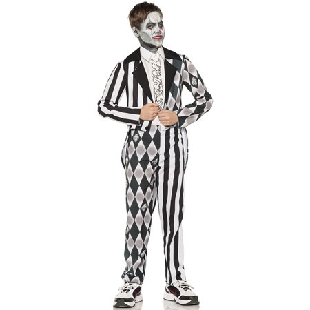 Sinister Clown Black White Tuxedo Boys Scary Jester Halloween Costume - Scary Halloween Makeup For Men