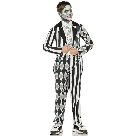 Sinister Clown Black White Tuxedo Boys Scary Jester Halloween Costume - Scary Halloween Supplies