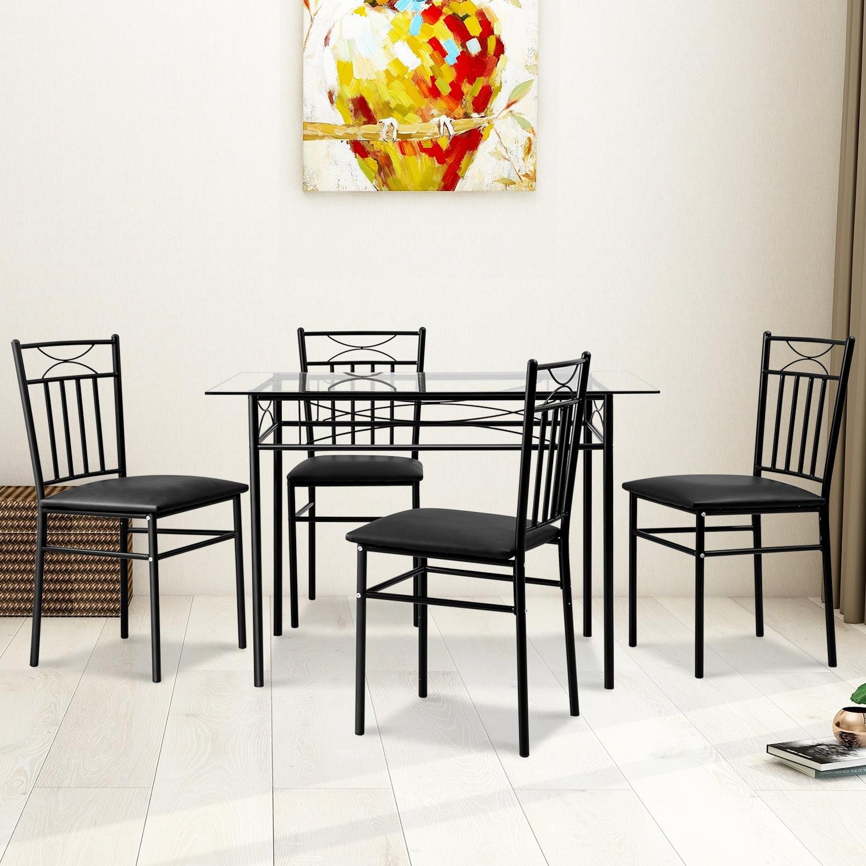 Harper & Bright Designs 5-Piece Dining Set Glass Top
