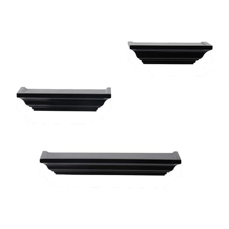 WOLTU Crown Molding Floating Wall Ledge Decorative Shelf,10-inch & 12-inch & 18-inch Long, Black, 3 Pieces,
