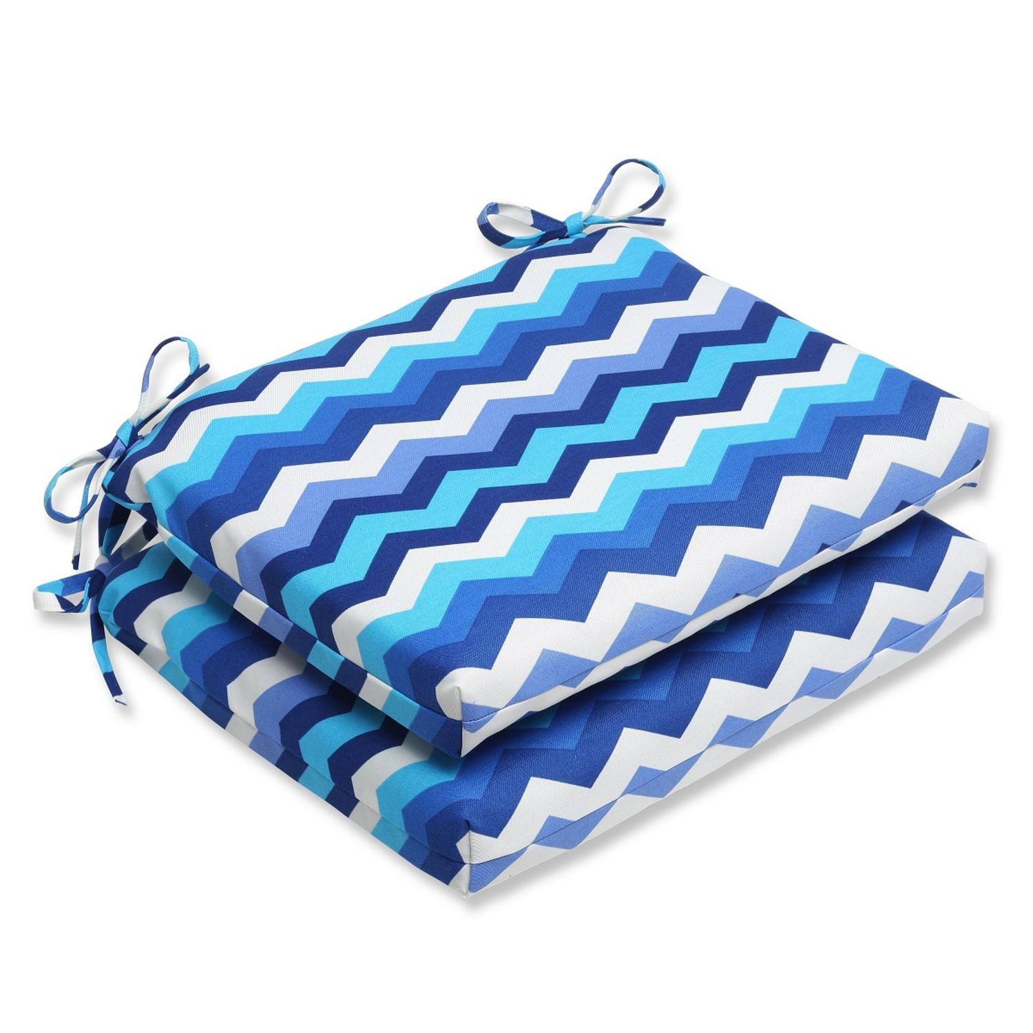 """Set of 2 Rayas Azules Blue, Navy and White Chevron Striped Outdoor Patio Chair Cushions 18.5"""""""