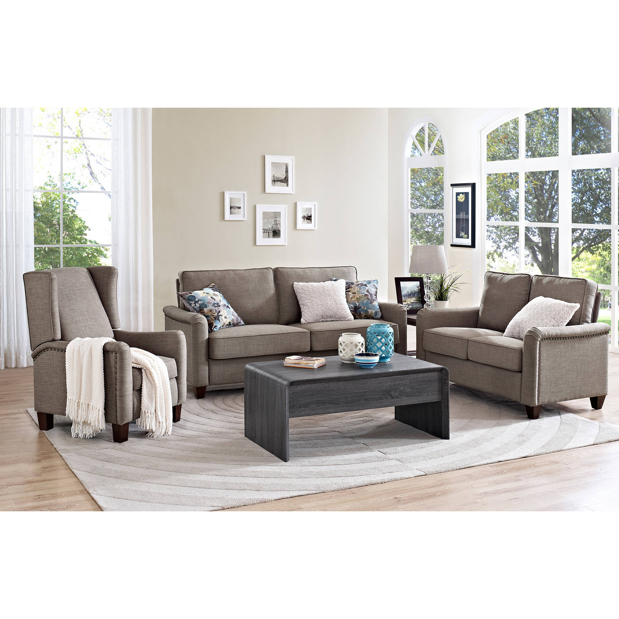 Better Homes and Gardens Grayson Loveseat with Nailheads Grey