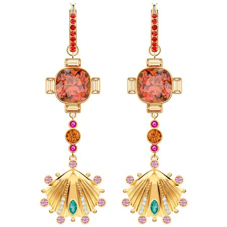 Swarovski Lucky Goddess Shell Pierced Earrings - Multi-coloured - Gold Plating (Fit Pierced Earrings Swarovski)