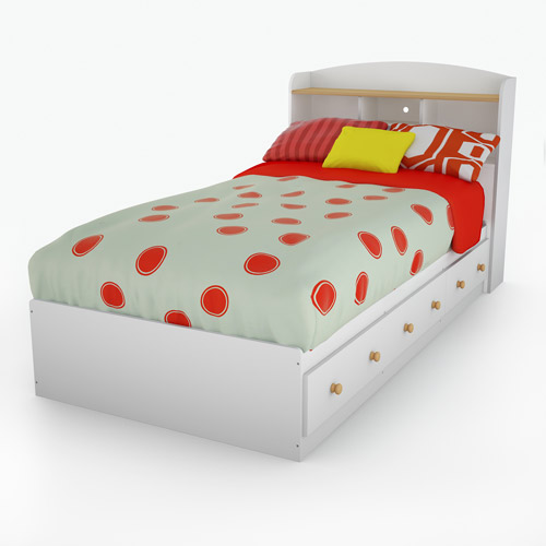 South Shore Summertime Twin Bed and Headboard Set, 39'', White and Maple