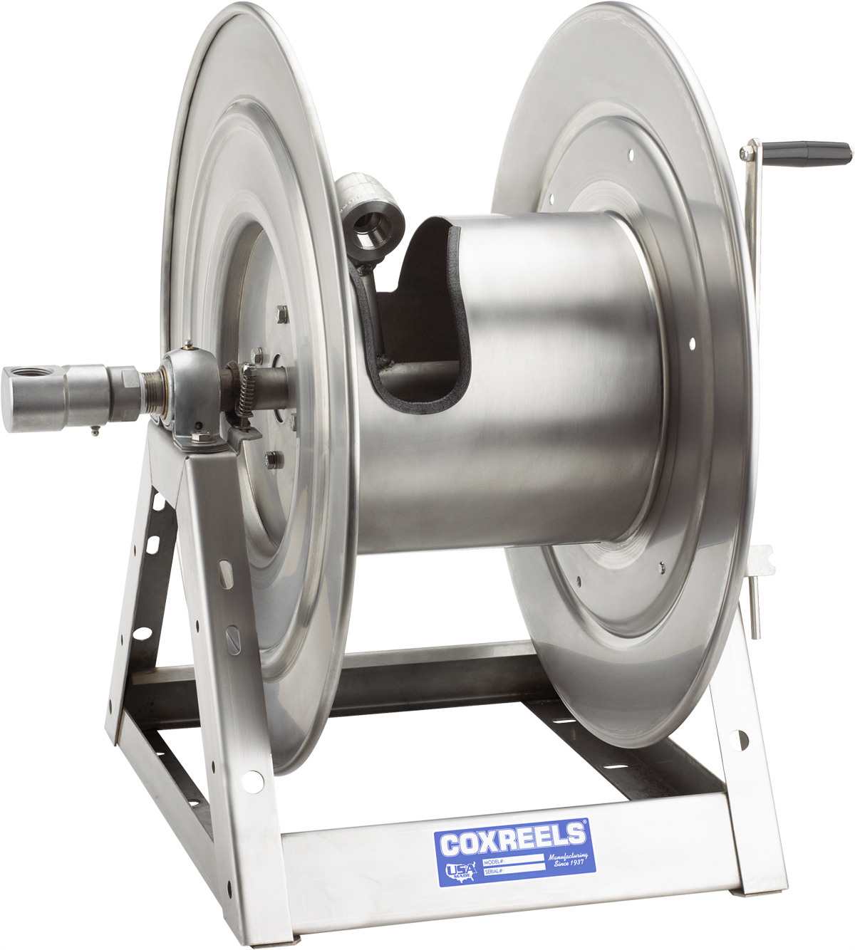 COXREELS 1175-6-100-E-SP Stainless Steel 12V DC Motorized Hose Reel 1inx100ft by Coxreels
