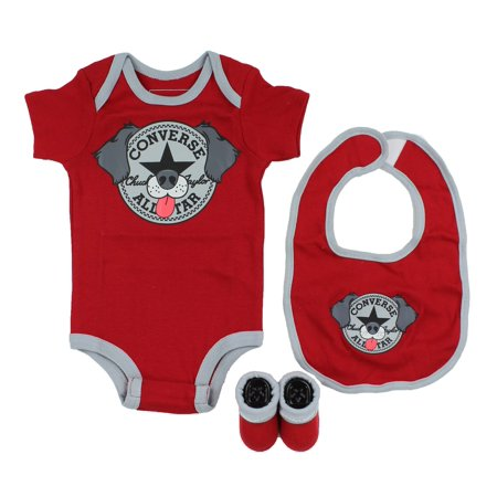 Converse Baby 3-Piece Layette Set (Red/ Dog (029), 0-6 Months) - Baby Converse Sale