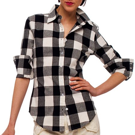 ff65003a Women's Long-Sleeve Button-Down Buffalo-Plaid Shirt