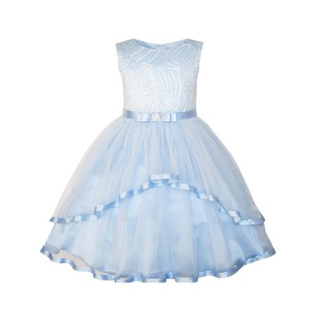 Flower Girls Dress Blue Belted Wedding Party Bridesmaid 4 - Off White Dresses For Girls