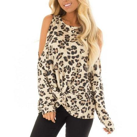Women's Fashion Leopard Print Cold Shoulder Twist Detail Long Sleeve Top Plus Size Twist Detail Top