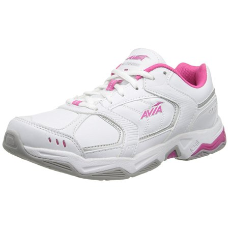 AVIA Women's Tangent Cross Training Shoe,White/Pink Scorch/Chrome Silver,9.5 M (Best Cross Training Sneakers)