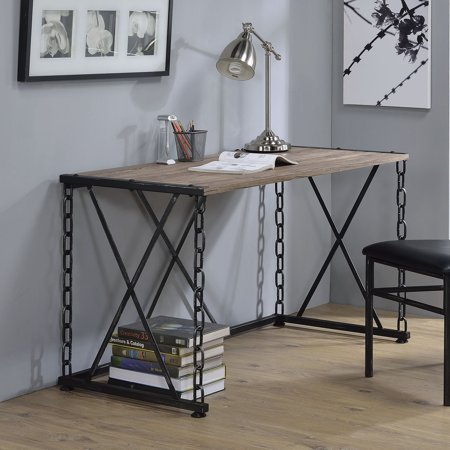 ACME Jodie Desk, Rustic Oak & Antique Black ()
