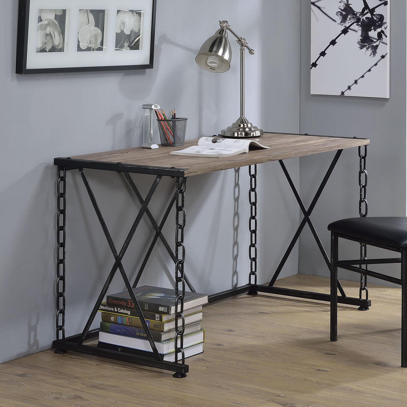 ACME Jodie Desk, Rustic Oak & Antique Black