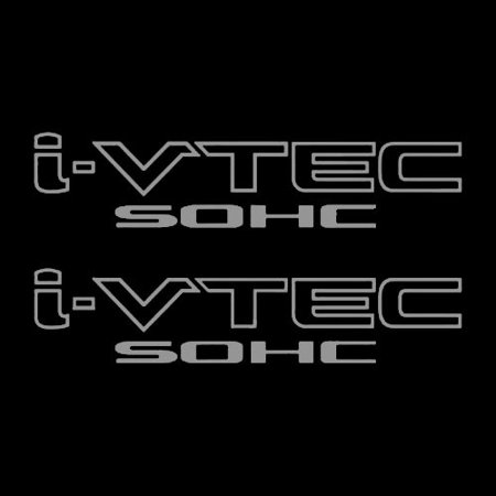 Two(2) Silver HONDA I-VTEC SOHC Car Decal Vinyl Window Wall Sticker JDM