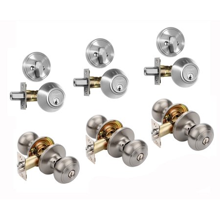 Dynasty Hardware CP-SIE-US15, Sierra Entry Door Knob Lockset and Single Cylinder Deadbolt Combination Set, Satin Nickel (3 Pack) Keyed Alike