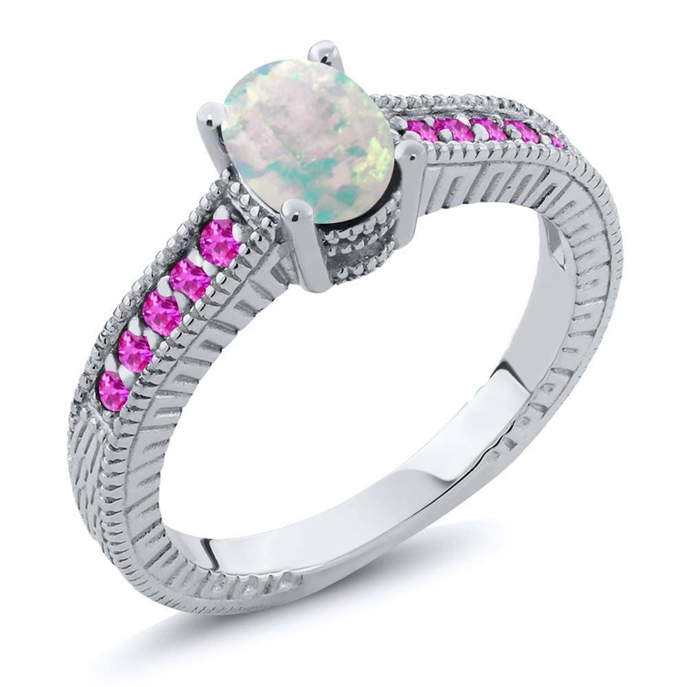 1.13 Ct Oval White Simulated Opal Pink Sapphire 925 Silver Engagement Ring by