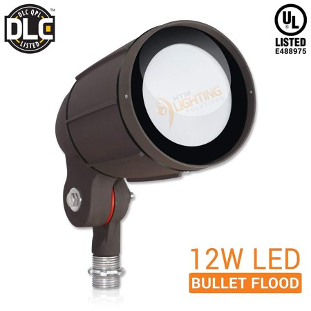 "12W LED Bullet Flood Light for Landscape Lighting - ½"" NPT Thread Adjustable - 1200lm - 100-277VAC - IP65 Rated Wet Location UL Listed - Bronze Finish - 5000K Cool White - 60° Wide Distribution"