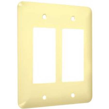 Hubbell Taymac Wri Rr Taymac Metal Princess Double Decorator Rocker Wall Plate  Smooth Ivory  Pack Of  25