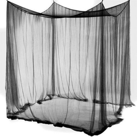 Ktaxon 4 Corner Post Bed Canopy Mosquito Net Full Queen King Size Netting Black/White