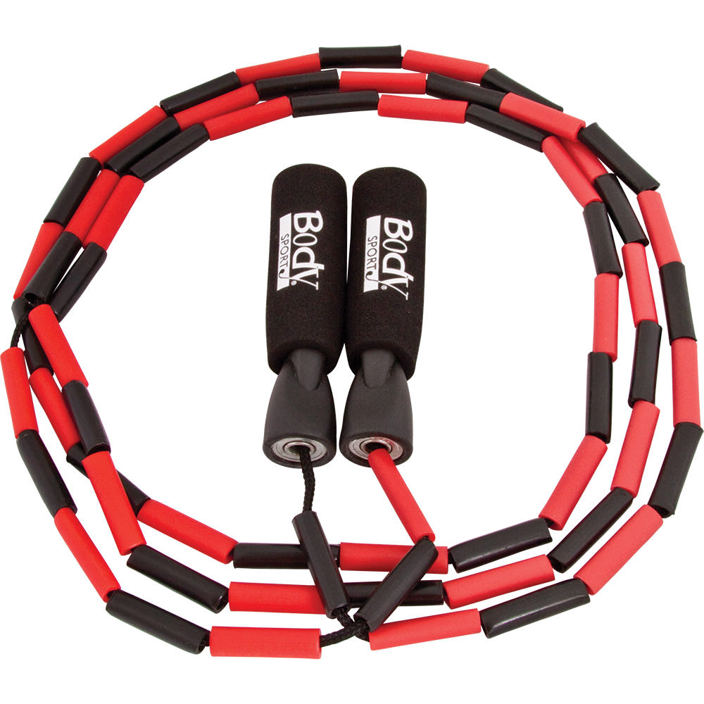 Body Sport Nylon Jump Rope With Plastic Beading - Plastic Handles - 9' Long