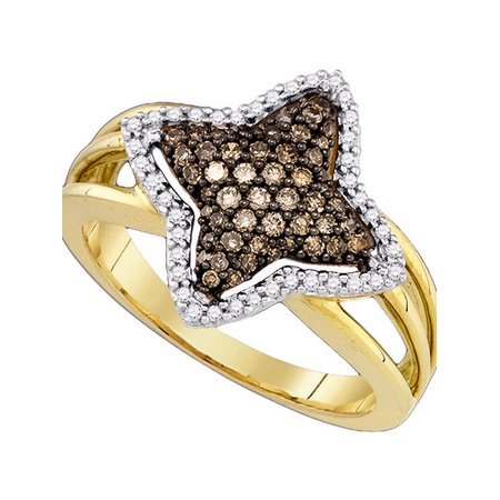 10k Yellow Gold Cognac-brown Color Enhanced Diamond Womens Star-shape Fancy Cluster Ring 3/8 Cttw - image 1 of 1