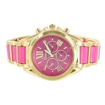 Bradshaw Gold Tone Watch Female Fuchsia Hot Pink Dial Roman Numeral Platinum
