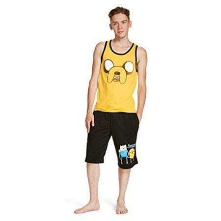 Cartoon Network Adventure Time Men's 2-Piece Sleep Set - Jake Spray Tank Top and Finn Shorts Set (Medium)