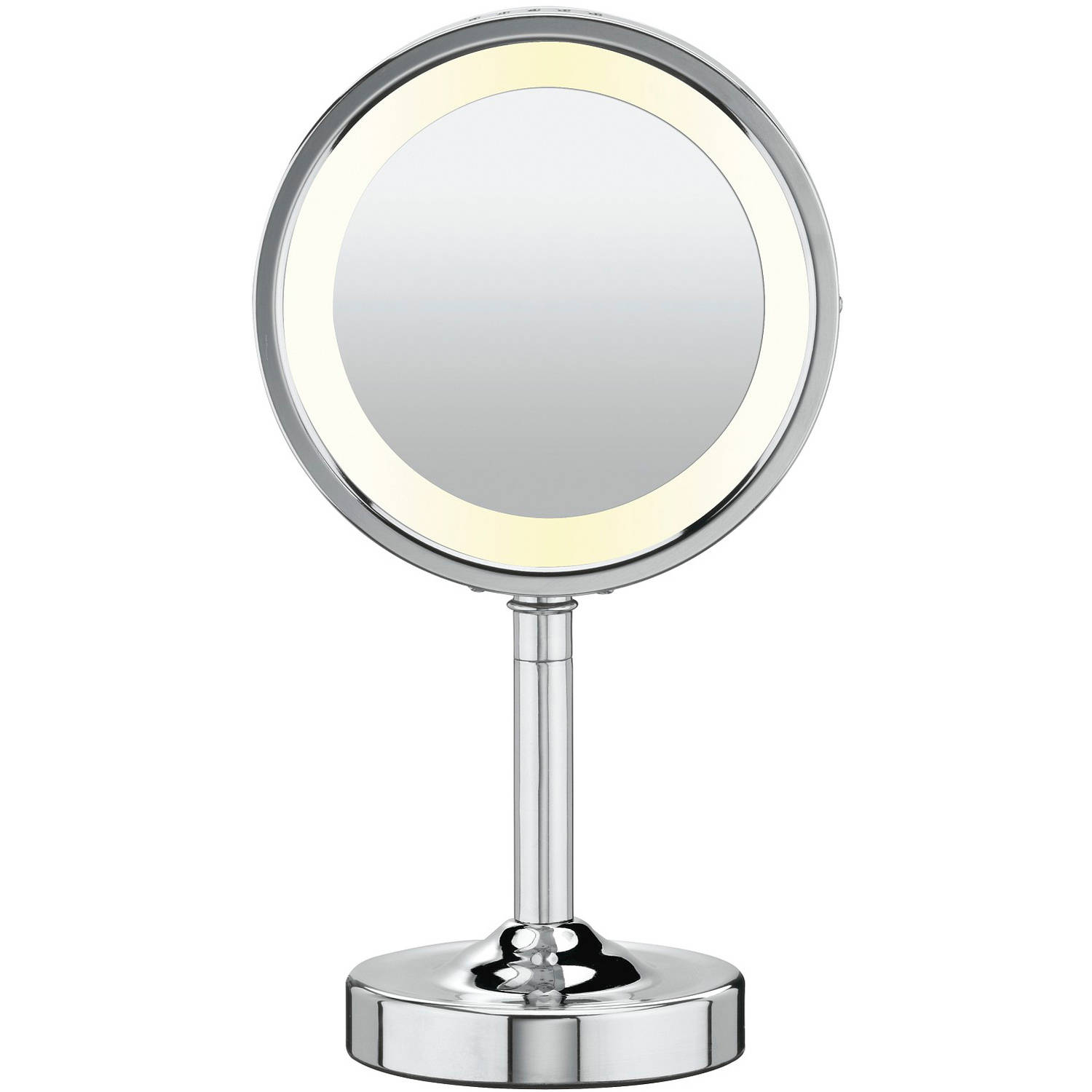 Conair Double-Sided Lighted Vanity Mirror; 1x / 5x Magnification, Chrome