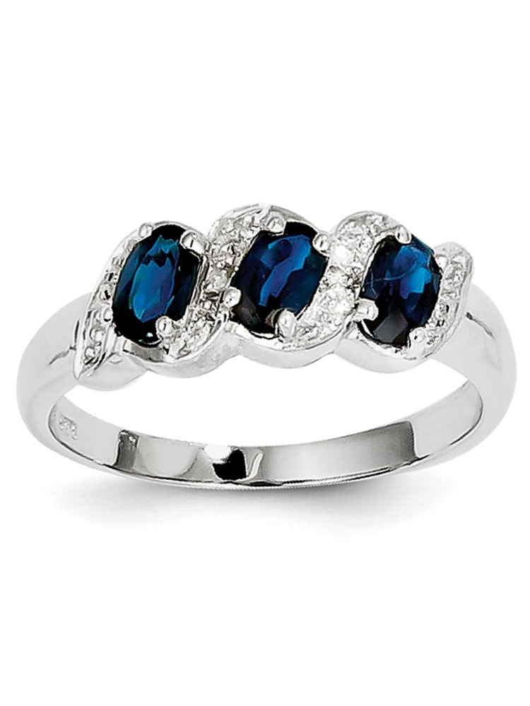 Sterling Silver Polished Open back Rhodium-plated Rhodium Sapphire and Diamond Ring Ring Size: 6 to 8 by Jewelryweb
