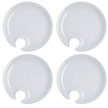 Cobble Creek (4 Pack) Plastic Appetizer Plates With Wine Glass Holder for Parties, Weddings, Holiday for $<!---->
