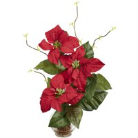 Nearly Natural Poinsettia with Fluted Vase Silk Flower Arrangement