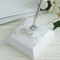 BalsaCircle Silver Pen and White Holder Set with Double Hearts Rhinestone Wedding Party Accessories Decorations  Supplies