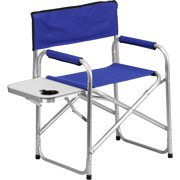 Folding Camping Chair with Table and Drink Holder in Blue