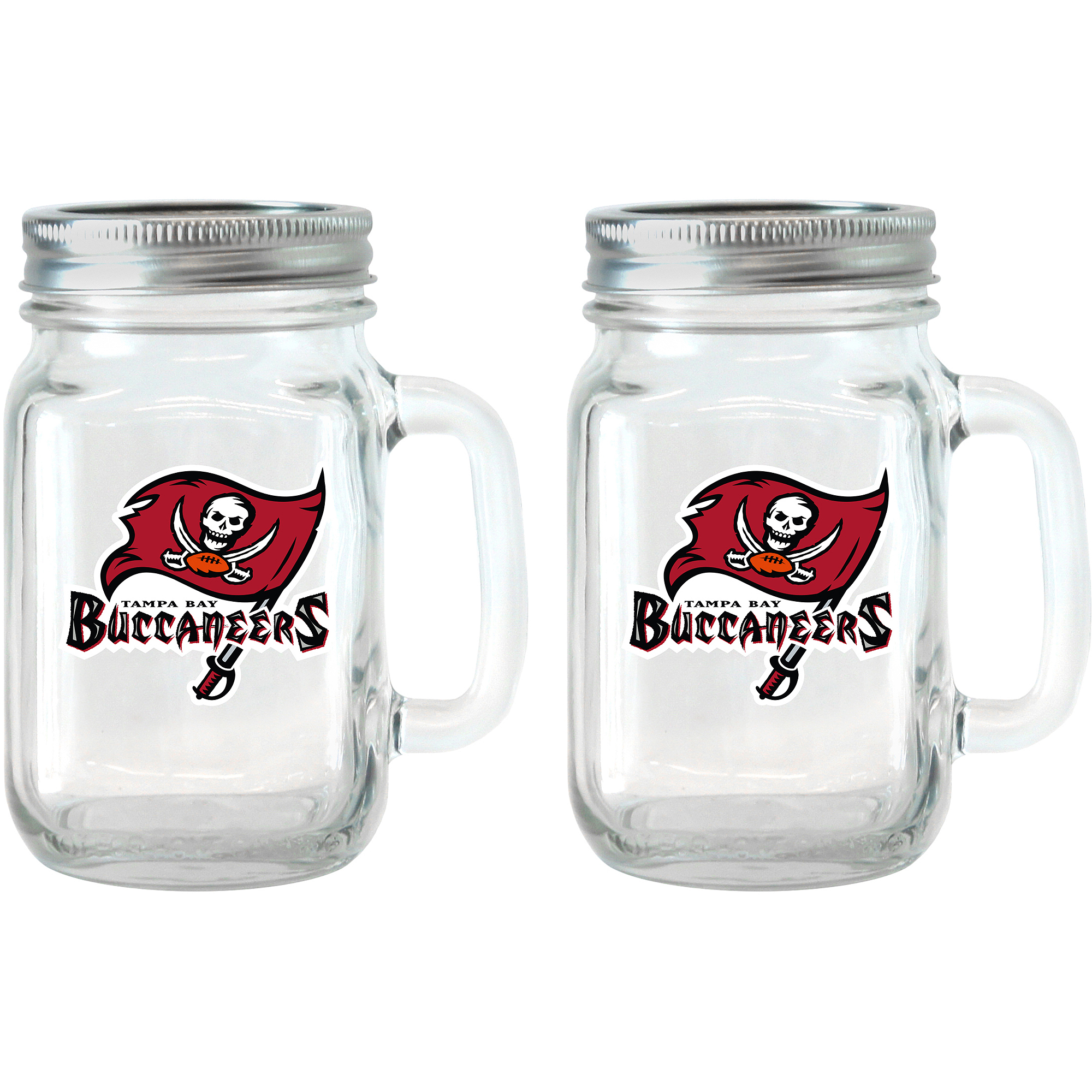 NFL 16 oz Tampa Bay Buccaneers Glass Jar with Lid and Handle, 2pk