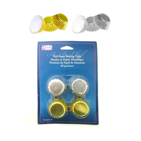 96 Mini Foil Baking Cups Cupcake Muffin Liners Bake Party Samplers Gold