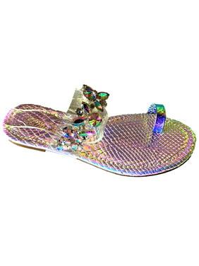 a29a89fc0 Product Image PSY-05 Women Toe Ring Rhinestone Bling Slides Flip Flops  Flast Sandal Pink Hologram