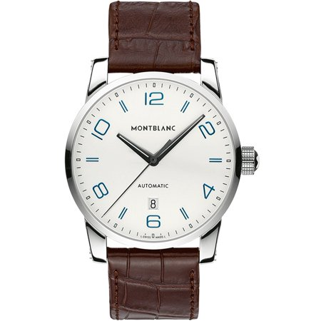 Montblanc montblanc timewalker 110338 42mm automatic stainless steel case brown leather anti for Anti reflective watches
