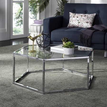 Safavieh Eliana Hexagon Glass Coffee Table, Chrome ()