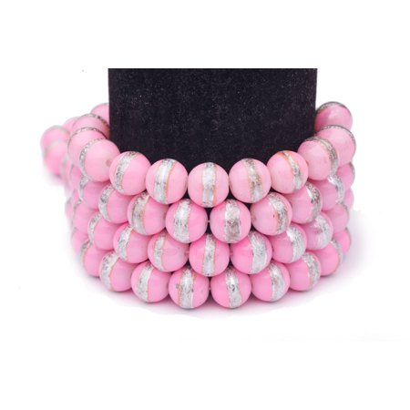 Pearl Spring Tin (Pink Silver Foiled Glass Pearls 10mm Round Sold per pkg of 2x32Inch )