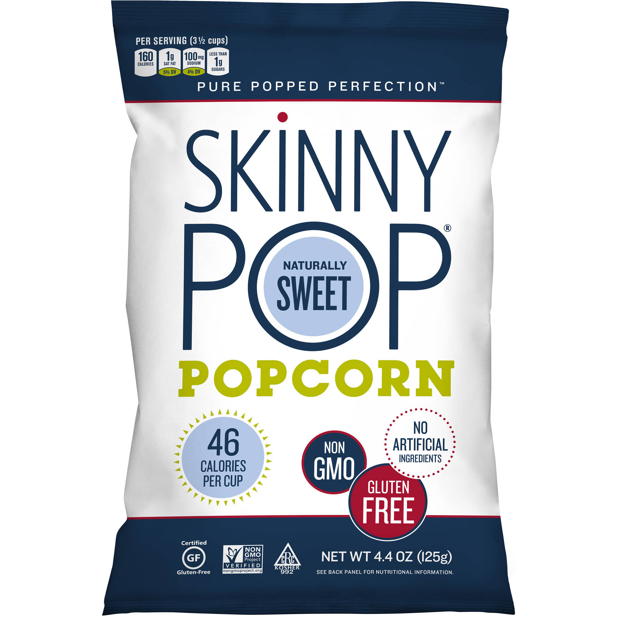 Skinny Pop Naturally Sweet Popcorn, 4.4 oz, (Pack of 12)
